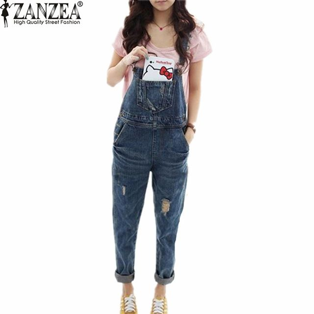 2016 ZANZEA Fashion Women Ladies Korean Style Washed Casual Hole Jumpsuits Slim Romper Overall Jeans Denim Rompers