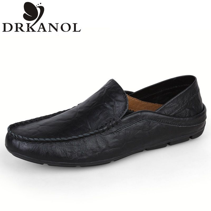 New Spring/Autumn Leather Men Flats Shoes Casual Loafers Shoes Fashion Slip On Driving Shoes Moccasins Plus size 35-47