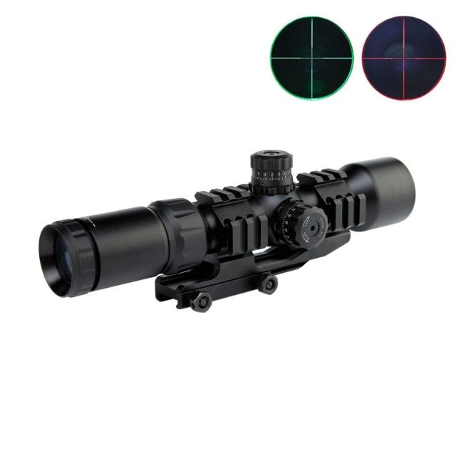1.5-5X40BE Hunting Riflescope Tactical Airsoft Air Guns Pistol Red Dot Rifle Scopes w/Tri-Illuminated Mount Rail Tactical Scopes