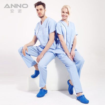 Top+pants unisex nursing medical doctor nurse uniform working split scrubs surgical operation overalls shirt clothing Anno