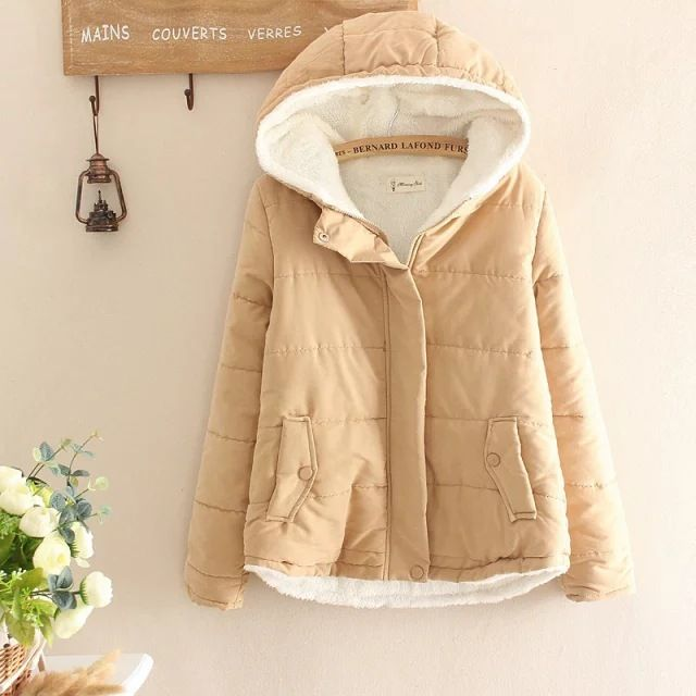 Women Winter 2016 new Japanese Preppy style Cashmere Cotton Hooded Coat Padded Fleece Zipper overcoat outwear