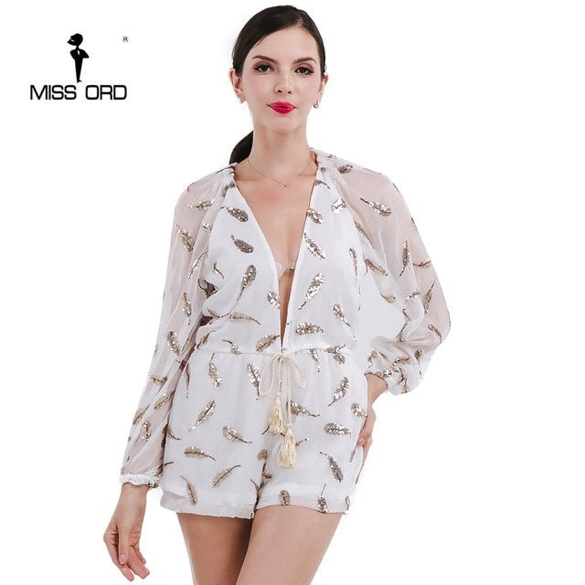 Missord 2018  Sexy Deep-V long-sleeved sequins feather playsuit  FT4731