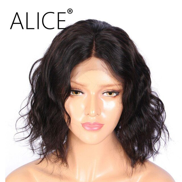 ALICE Loose Wave Silk Top Full Lace Wig With Baby Hair 130 Density Non Remy Brazilian Silk Base Wigs Natural Black Color