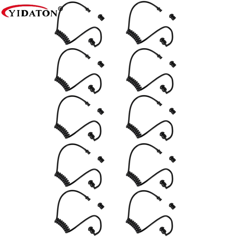 10PCS/lot Black Detachable air tube with earbuds for Motorola two way radio acoustic tube headset replacement