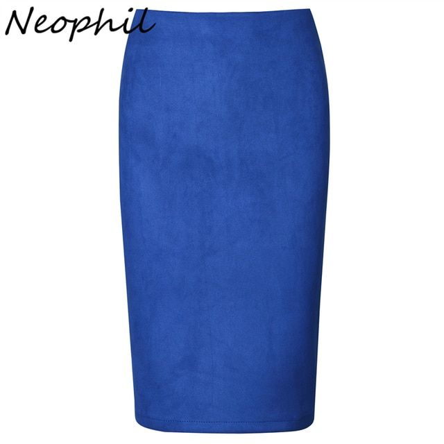 Neophil 2017 Suede Gray Black Summer Plaid Pattern Print High Waist Women Knee Length Sexy Slim Ladies Pencil Skirts Saia S0910