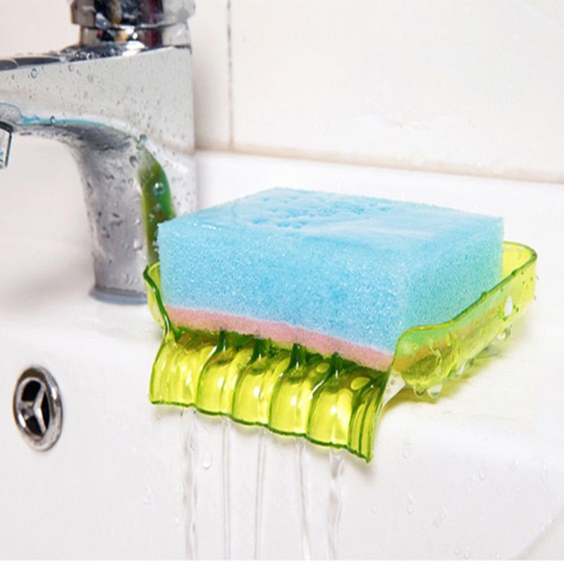 Soap Storage Box Dish Case Makeup Organizer Water Drain Sponge Holder For Kitchen Double Sucker Bathroom Kitchen Organizer