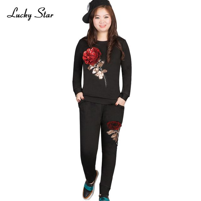 LUCKY STAR Brand Women Fashion Cotton Sets 3D Rose Flower Sequin Sets Hoodie Sweatshirt Women Casual Top+Pants Tracksuit