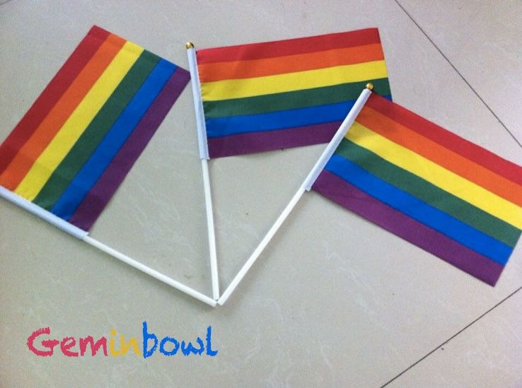 50 pcs Geminbowl Rainbow flag Hand Waving Gay Pride LGBT parade Les Bunting 14x21cm Geminbowl Brand New