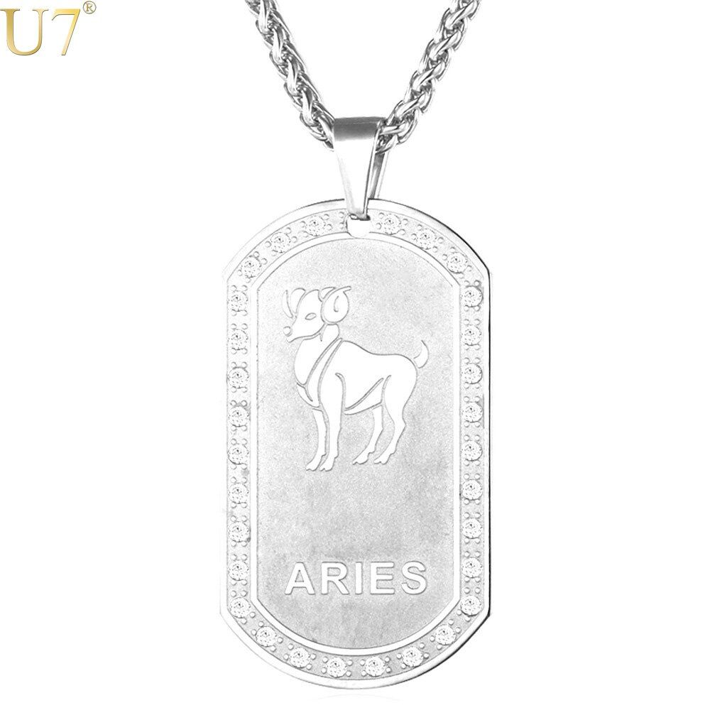 U7 12 Constellations Necklace For Men/Women Birthday Gift Silver Color Amulet Pendant & Chain Zodiac Signs Jewelry P915