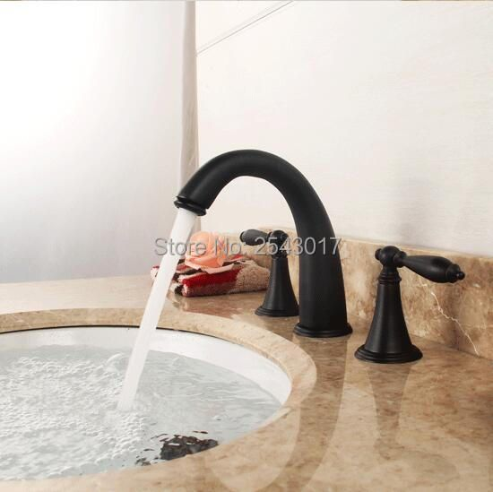 100% Solid Brass Basin 3 pcs Sink Mixer Hot and Cold Deck Mount Double Handle Oil Rubber Black Bathtub Mixer Faucets ZR864