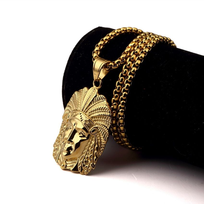 Wholesale Hip Hop Men Gold Chain Necklaces Pendants HIPHOP Jewelry Fashion  Indian Chief Pendant Long Necklace