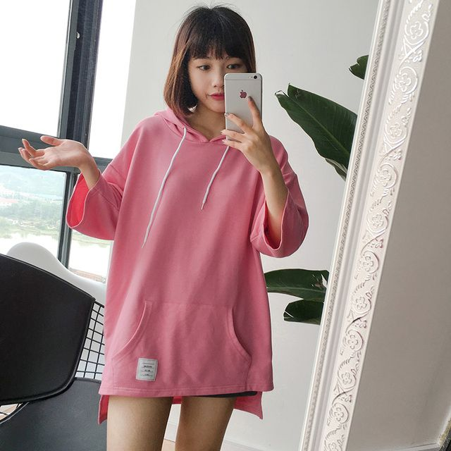 harajuku shirt 2016 korean plus size cute new spring summer style off shoulder top kawaii rock pink hooded t-shirt women tops