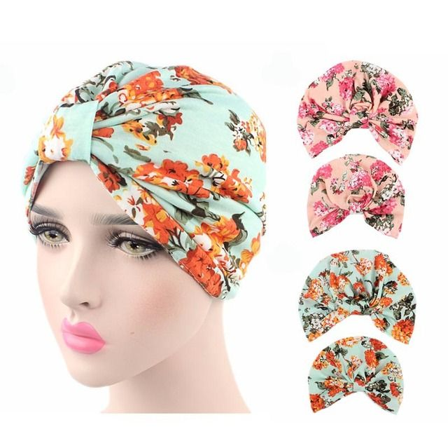 New fashion Parent Child Bow Floral fruit print Soft cotton Turban Headband  Indian Style Stretchable Turban Sleep Hat