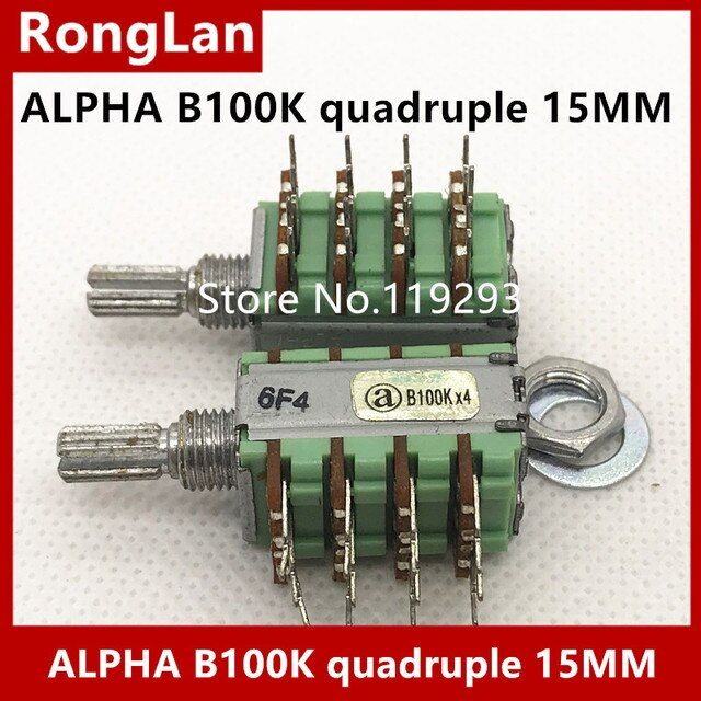 [BELLA]ALPHA Potentiometer B100K quadruple potentiometer shaft 15MMX5MM--10PCS/LOT