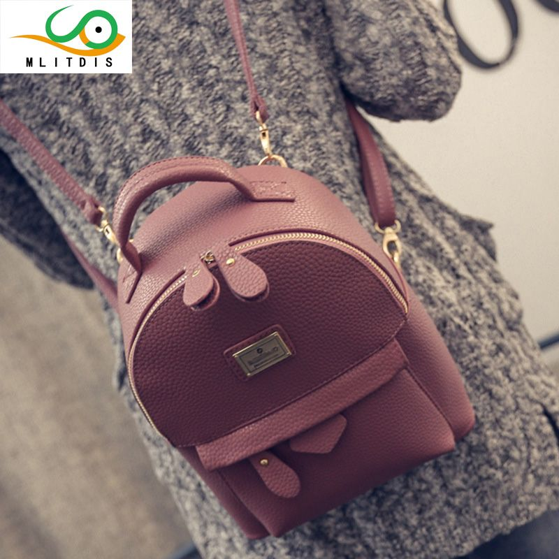 MLITDIS Leather Backpack Women Mochilas Mujer 2017 New Fashion Women Backpack Leather Designer Brand Rucksack Women Vintage Bags