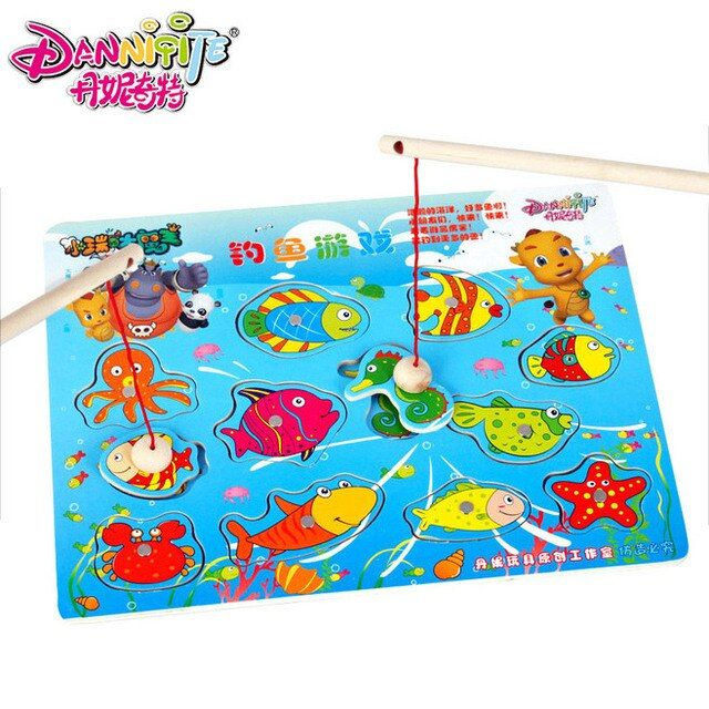 DANNIQITE Children Fishing Game & Wooden Ocean Jigsaw Puzzle Board Magnetic Rod Toy Outdoor Fun Toy Gift For Kid