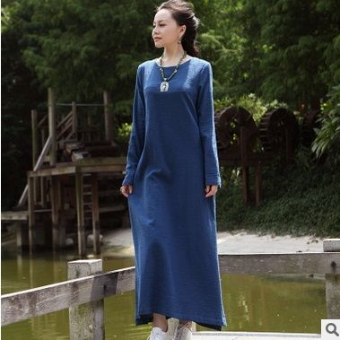 New products listed in the spring of 2016, 100% of the original design of high-end loose big yards of cotton linen women dress