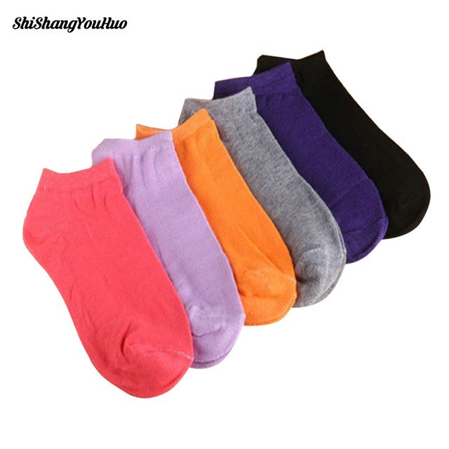 1 Pair of Women's Socks Girl Female Lady Short Cotton Socks Candy Color Ankle Sox Low Cut Boat Art Socks