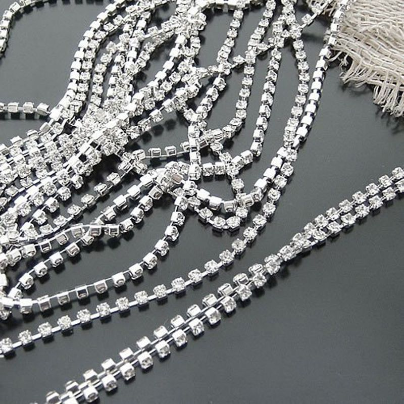Clear Crystal Glass Rhinestone Compact Close Silver Chain Trims Beaded Applique Costume Bridal Dress Sewing Decor