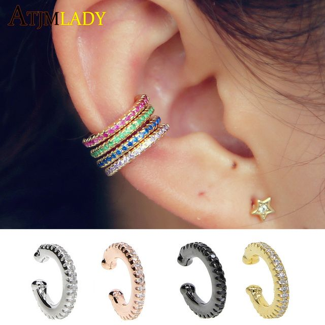 Ear Cuff micro pave cz circle 925 sterling silver mix rainbow CZ earrings no pierced stack small sized little girl earring cuff