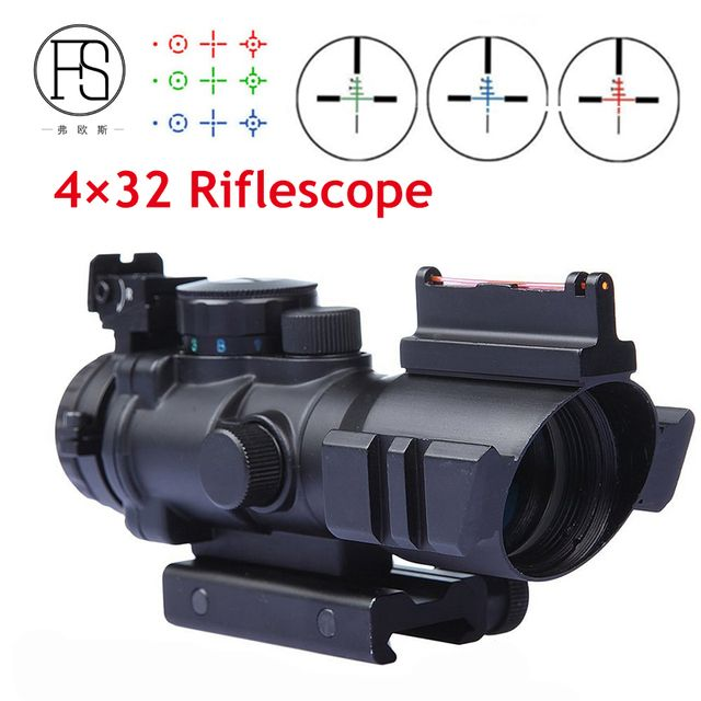 Hot Sale Tactical 4X32 Red Green Dot Sight For Air Rifle Optic Reticle Riflescope 20mm Rail Use Hunting Shooting Sight Scope