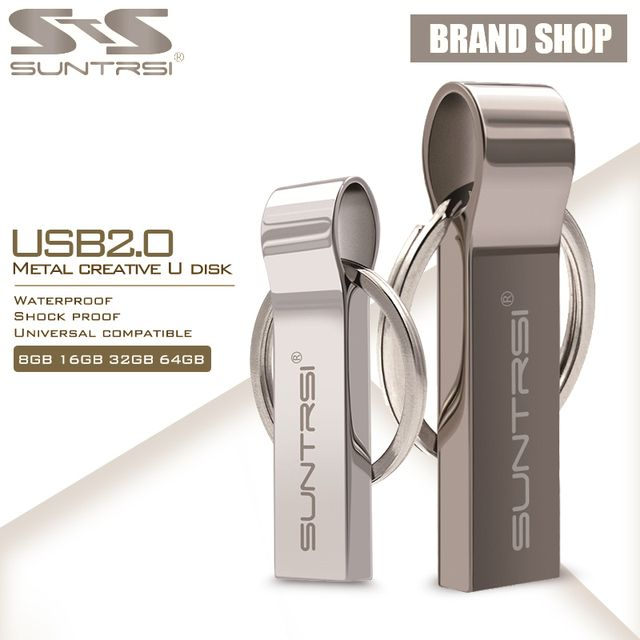 Suntrsi USB Flash Drive 64GB Metal Steel Pen Drive High Speed Pendrive Key Chain USB Stick Flash Drive Memory USB Flash Freeship