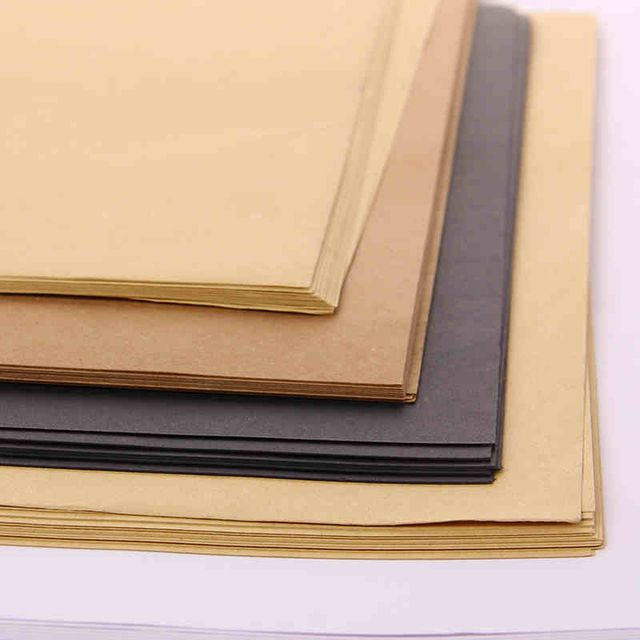 50pcs/lot A4 size 21x29.7cm Kraft/Black card paper 200/250/300/400gsm gift packing cardboard DIY model party wedding decorations