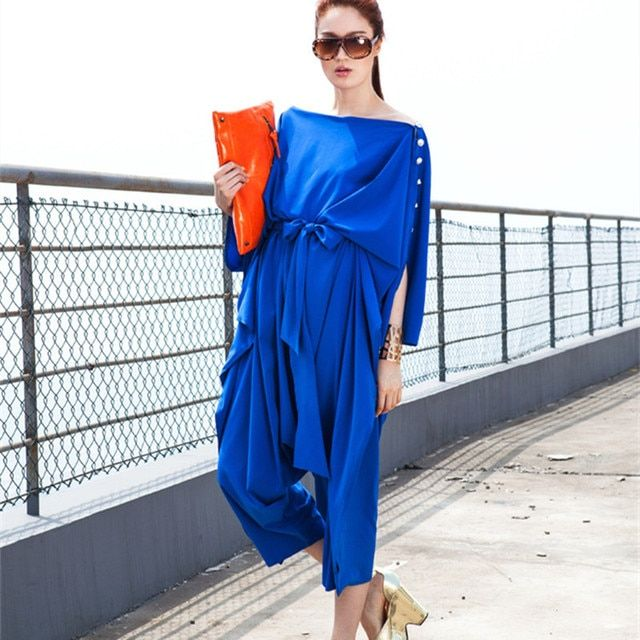 [AIGYPTOS-C4]  Women Novelty Personality Big Jumpsuit Overalls Chiffon Tooling Jumpsuit High Quality Loose Calf-Length Pants