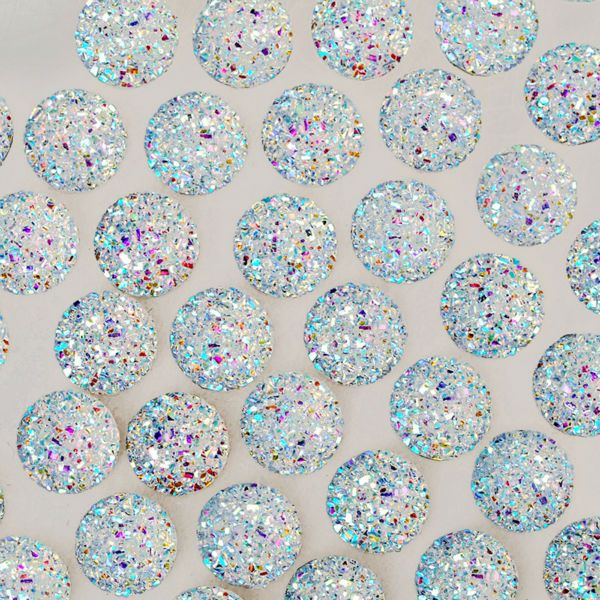 100pcs 12mm round shiny resin cabochon,Embellishments Craft Supplies,glitter resin for jewelry making,Crystal-10062554
