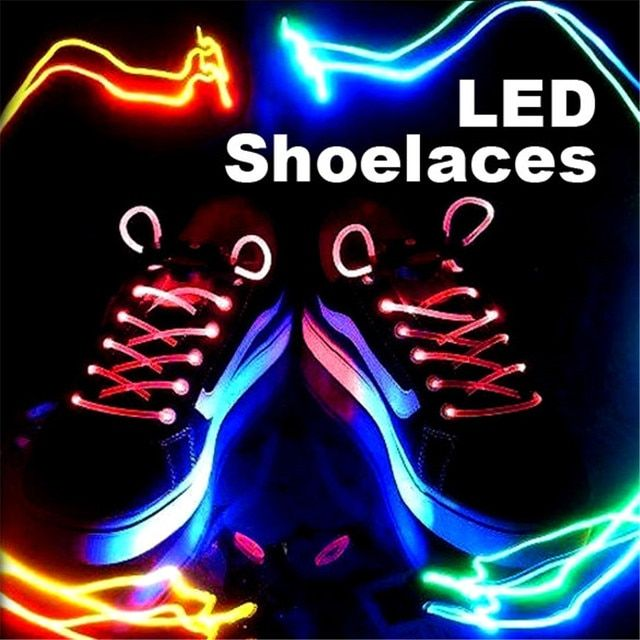 Stunning LED Flash Light Glow Shoelaces Shoe Lace DISCO PARTY Free shipping