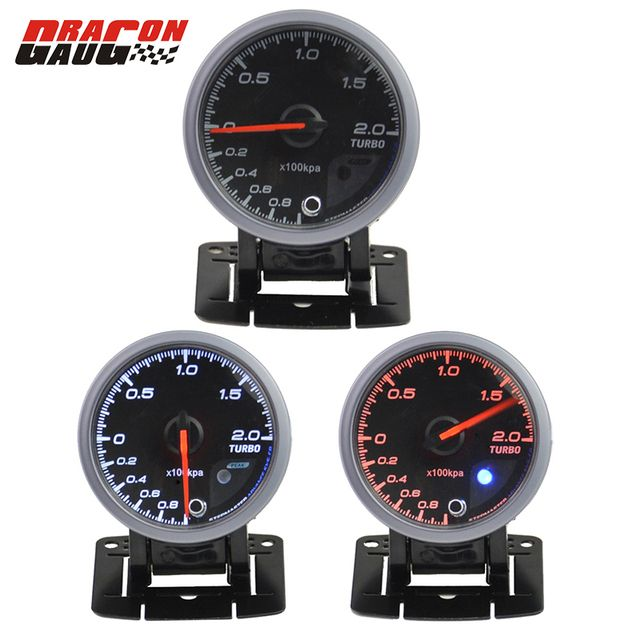 Dragon gauge 60mm CarTurbin boost gauge and turbo gauge meter warning function Automotive instrument pressure gauge +pods