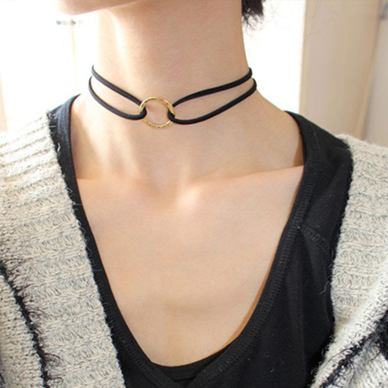 Simple Fashion Jewelry Gold-color Hollow Round Double Black Leather Choker Necklaces & Pendants For Women Gothic Collares
