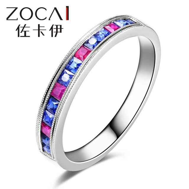ZOCAI Ring 18K white gold Dual gemstones 0.36 Ct certified Genuine Sapphire 0.17 Ct certified genuine ruby gemstone ring