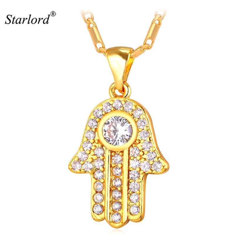 Hamsa Hand Necklace Gold Color Cubic Zirconia Pendants & Necklaces Women/Men Link Chain Amulet Hand of Fatima Jewelry P1664