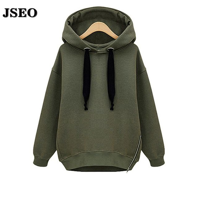 JSEO-High Quality New Autumn Women Cotton Loose Hooded Jacket Thicken Velvet Long Sleeve Sweatshirt Fashion Style Hoodies M-4XL