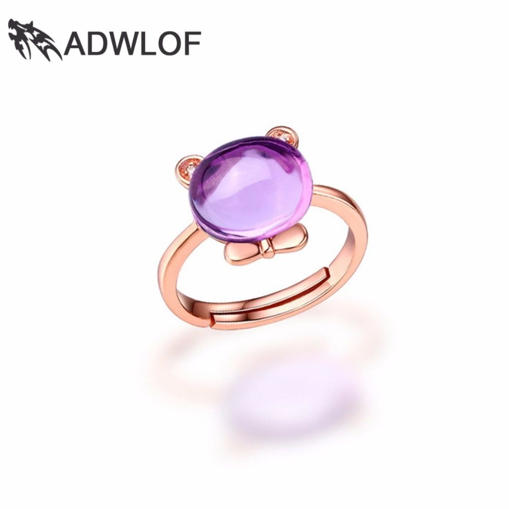 ADWLOF 3.20CT Oval Cut Natural Amethyst Rose Quartz Blue Topaz Bear Romantic Rings 925 Sterling Silver for Women Fine Jewelry