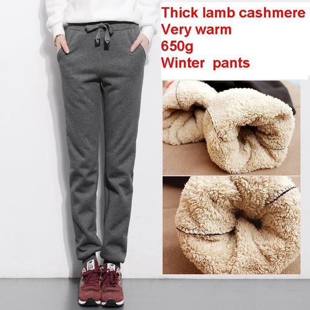 2016 autumn and winter women thick lambskin cashmere pants warm female casual pants loose Harlan pants long trousers size S-4Xl