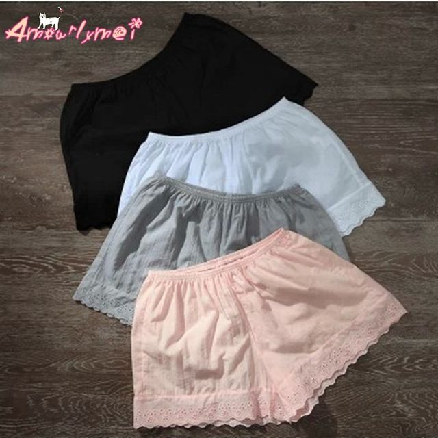Summer Women Cotton Lace shorts Loose Large size Elastic Waist Bottoming Shorts Japanese Style Mori Girl