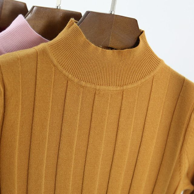 New 2018 Knitted Turtleneck Sweater Fashion Women Autumn High Stretch Striped Pullover Long Sleeve Sweater Women Pull Femme L865