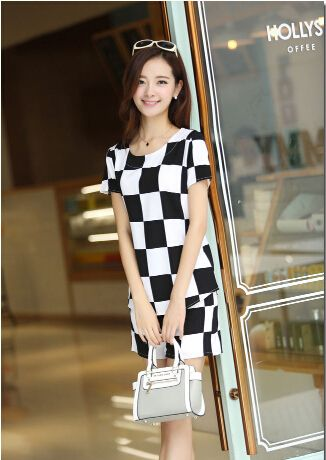 The new large size women in Europe and America checkered piece pants suit