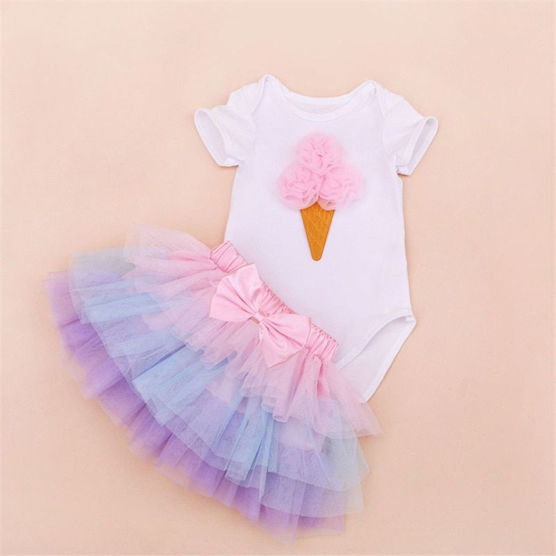 Tutu Baby Birthday Set Summer Short Sleeve Roupas Infantis Bebes 1st Birthday Outfit+Tutu Pettiskirt Dress Party Clothing Sets