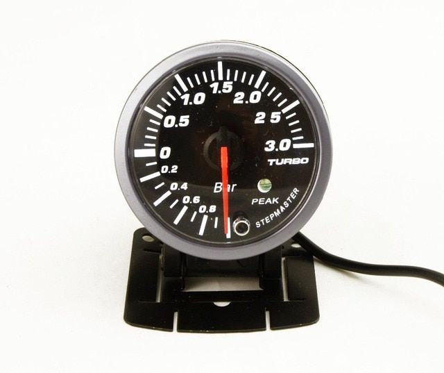 DRAGON GAUGE 3 BAR 2.5 Inch 60mm Boost Turbo Gauge White&Orange Dual Led Display With Peak Warning