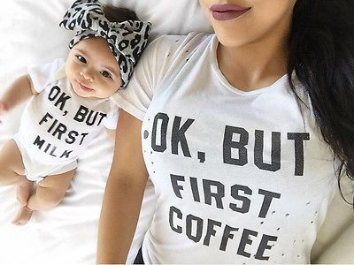 Newborn Baby Girls Boys Bodysuit Clothes Short Sleeve White Cotton Bebes OK BUT FIRST MILK Palysuit Outfit Sunsuit Clothes