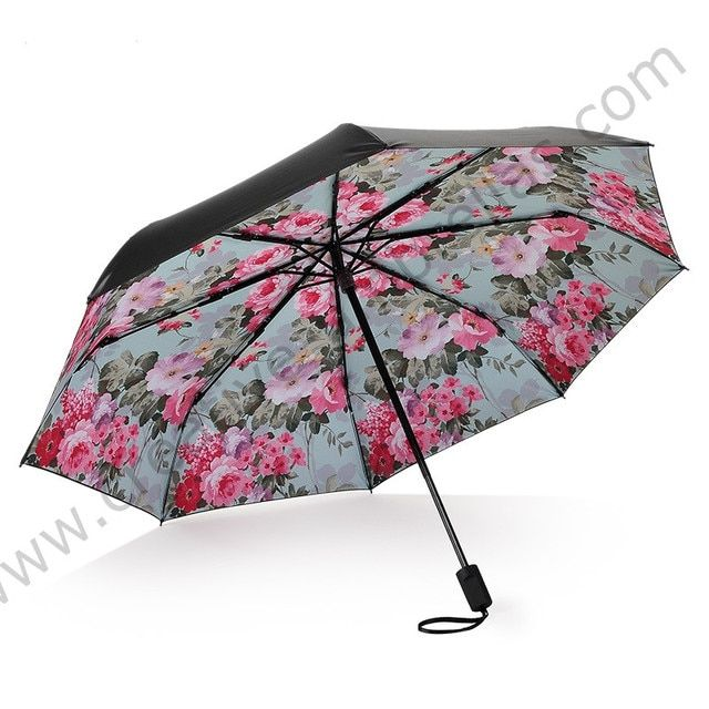 2pcs/lot Three fold sunscreen umbrella five times black coating anti-uv alloy fiberglassSakura cherry flower shopping parasol