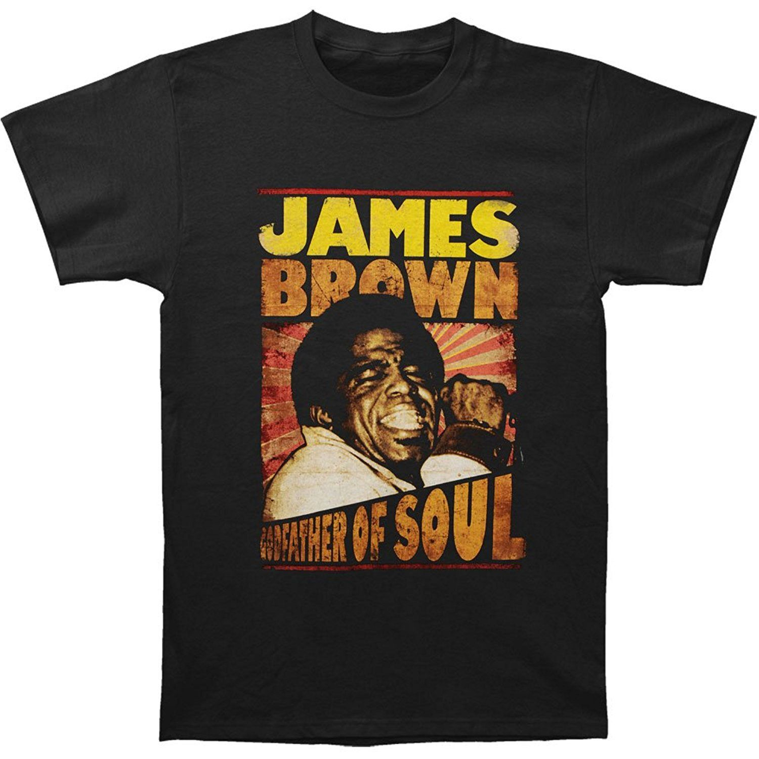 Printed T Shirts Hipster Tee	Cotton Crew Neck James Brown Men's Godfather Of Soul T-shirt Black Short-Sleeve Shirts For Men
