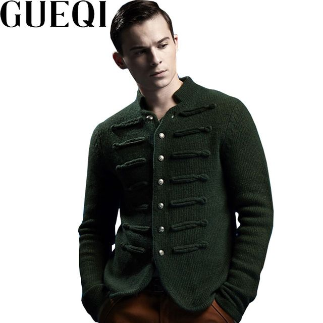GUEQI Brand Men Wool Sweaters Size M-2XL Single Breasted Design Clothing Man Casual  Cardigans Green / Brown
