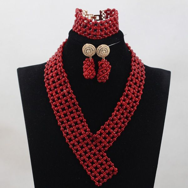 Gemsnorm Jewelry Nigerian Bead Necklaces Wedding Red/Orang Coral Beads Jewelry Set African Beads Jewelry Set Free Shipping QW794