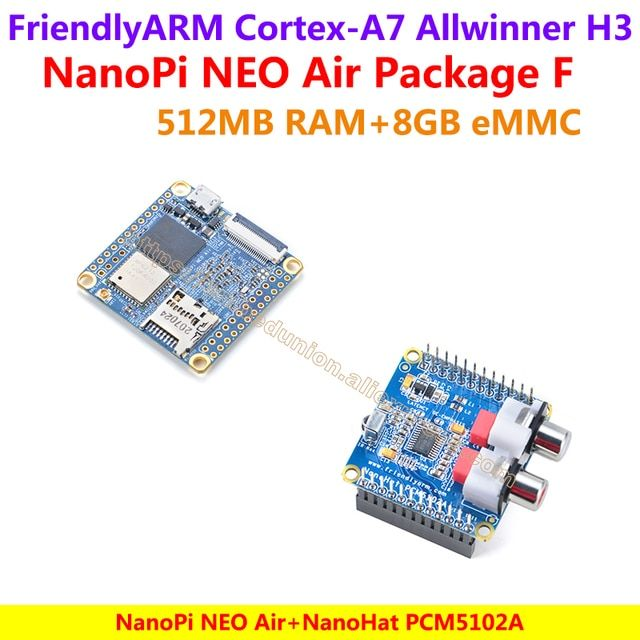 Quad-core Cortex-A7 FriendlyARM NanoPi NEO Air(512MB RAM)+NanoHat PCM5102A=NanoPi NEO Air Package F(WIFI&Bluetooth,8GB eMMC)