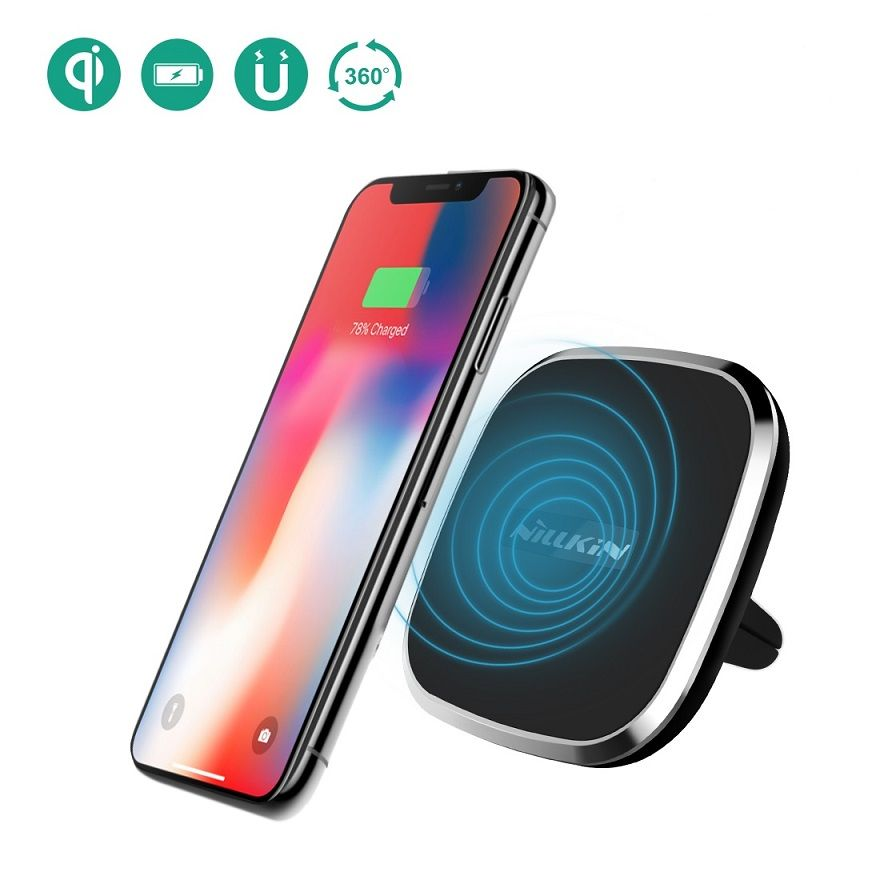 Nillkin Qi car wireless charger magnetic air vent mount pad for iPhone X/8/8 Plus/ for Samsung S9/S8/Note 8/For Xiaomi Mix 2S