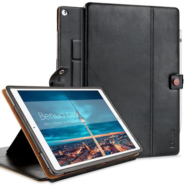 For iPad Pro 12.9 Case,Classic Genuine Leather [Card Slots] [Pencil Holder][Hand Strap] Multi Stands For iPad Pro 12.9 Cover